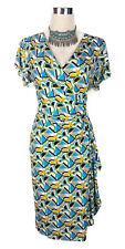 LEONA EDMISTON Dress - Geometric Faux Wrap Pleat Ruffle Blue White Yellow - 10/M