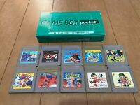 GameBoy Pocket console Green Color with BOX and Instruction & 10 Games