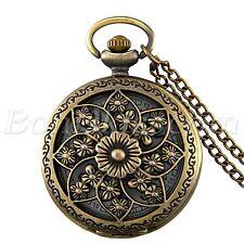 Antique Camellia Quartz Pocket Watch Pendant Necklace Mother's Grandma's Gift