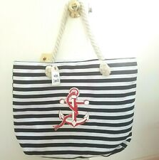 New Vera Neumann Xl Canvas Nautical Anchor Beach Tote Shoulder Bag