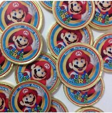 16  x Mario Thank you Milk Chocolate Gold Coins Birthday Party Favours