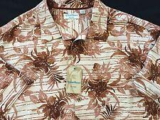 Men's CARIBBEAN 100% Silk Brown Off White Floral Print S/S Shirt 3XB NWT $89.50