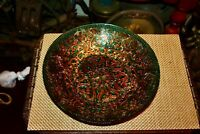 Detailed Gold Foil Painted Glass Bowl Dish Scrolls Gold Blue Colors Art Glass