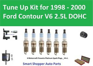 Oil Fuel Air Filter, PCV, Spark Plugs Tune Up For 1998 1999 2000 Ford Contour V6