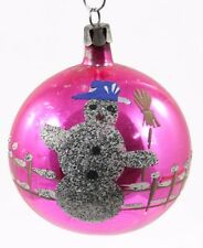 Vintage Hand Painted Glass Pink Silver Snowman Ball Christmas Ornament Holiday