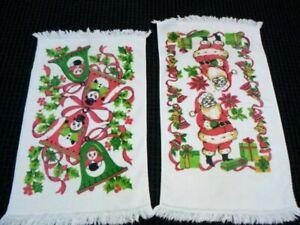 Pr Vintage Mid Century Cannon Christmas Motif Hand Towels Santa Claus and Snowme
