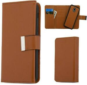 For Samsung Galaxy J3 Orbit J3 Star 2018 - Brown Leather DETACHABLE Wallet Case