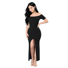 Women's Slim Bandage Bodycon Off Shoulder Evening Party Club Stretch Slit Dress