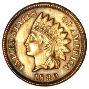 1890 INDIAN HEAD 1 CENT PENNY ~ AU+ ABOUT UNCIRCULATED ~ PRICED RIGHT!