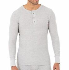 Small Fruit of the Loom Men's New Middle Weight Waffle Thermal Henley Gray