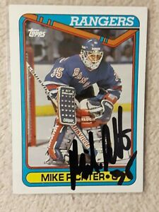 MIKE RICHTER NHL SIGNED AUTOGRAPHED 1990-91 TOPPS ROOKIE CARD RANGERS