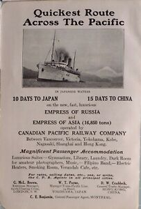 1914 JAPAN JAPANESE TOURIST ADVERT CANADIAN PACIFIC RAILWAY EMPRESS OF RUSSIA