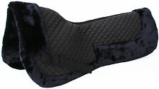 Horse English Quilted SADDLE Half Pad Correction Wither Relief Fur Black 12218BK