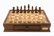 "Dal Rossi Staunton Chess Set with Drawers 16"" Walnut 85mm pc"