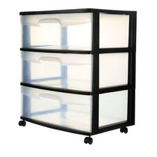 "21.88"" Black 3 Drawer Wide Cart Storage Clothes Linen Organizer Container Box"