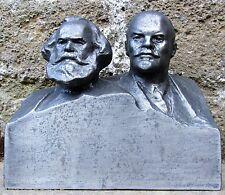 BUSTO DI K.MARX E V.LENIN PRODUZIONE SOVIETICA DI ANNI 50-60 METALLO 17X19,5 CM
