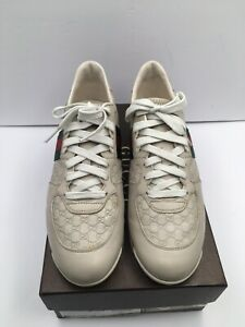 #308 GUCCI Guccissima Beige Leather Web Stripe LowTop Sneakers Size 41/US 8.5