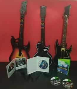 Guitar Hero Wireless Lot3 guitars(XBOX 360)W/Games (activision guitar no dangle)