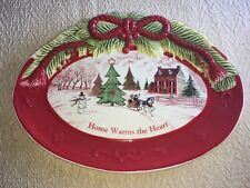 2010 Fitz and Floyd Home Warms The Heart Collection Sentiment Tray Plate