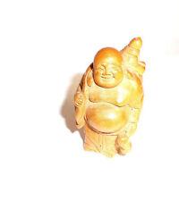 "Hand Carved Wood 2.5"" Buddha Figurine - Safe Travels - Netsuke/Signed by Artist"