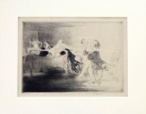 EDMUND BLAMPIED Drypoint etching proof , 'En Pension' 1929