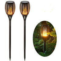 4Pcs 96LED Solar Flame Tiki Torch Lights Dancing/Flickering Flame/path Lamps USA