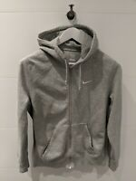 NIKE Light Grey Logo Embroidered Hooded Sweatshirt - Mens Size S