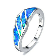 Fashion Blue Fire Artificial Opal Cross Silver Ring Bridal Charm Jewelry Size 7