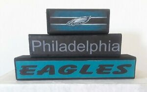 Philadelphia Eagles 3PC free standing wood stackable signs football