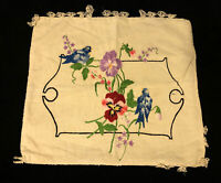 Vintage Hand Embroidered Throw Pillowcase Birds Flowers Button Closure Crewel
