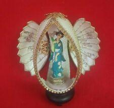 Vintage Real Goose Egg Diorama w/Stand and Geisha