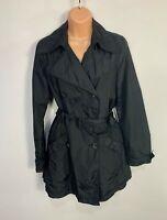 WOMENS MEXX SIZE UK 10 BLACK SMART/CASUAL LIGHT WEIGHT TRENCH COAT RAIN MAC