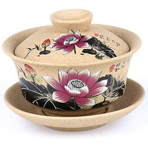 Chinese Pottery Gaiwan Hand Painted Ceramic Tea Cups and Saucers Kung Fu Tea Set