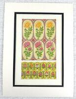 1857 Antique Print Persian Wallpaper Fabric Block Printing Pink Floral Flowers