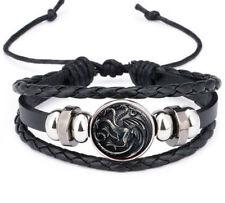 Vintage Game of Thrones 3 Head Dragon Leather Bracelet Noosa Snap Glass Bracelet