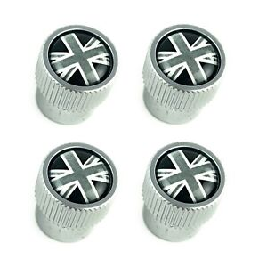 Land Rover Silver + Black Union Jack Tire Wheel Valve Stem Caps Genuine LR027666