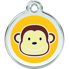 Engraved Personalised Dog / Cat ID Identity Tags / Discs MONKEY Red Dingo (1MK)
