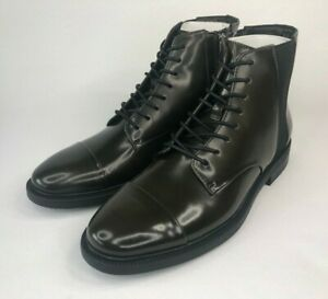 Calvin Klein Men's Cronus Patent Leather Green Black Boots