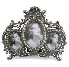 Barock Stehrahmen Bilderrahmen Silber 3-Fach-Rahmen Gallerie Antik Fotorahmen
