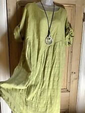 New Made in Italy Linen Tunic Smock Dress Plus Size 18 20 22 Asparagus