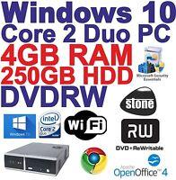 Windows 10 Core 2 Duo 2x3.00GHz Desktop PC Computer - 4GB RAM -250GB DVDRW Wi-Fi
