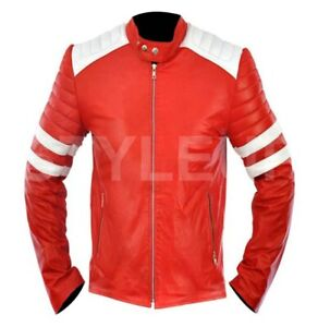 Men's FIGHT CLUB Tyler Durden Brad Pitt Casual Biker Style Red Leather Jacket