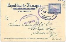 NICARAGUA -  POSTAL HISTORY - POSTAL STATIONERY CARD from GRANADA/CORINTO 1905
