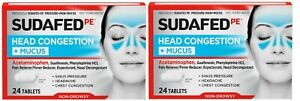 2 Boxes Sudafed PE Head Congestion +Mucus Non-Drowsy 24 Tablets EXP 6/21
