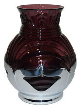 "Cambridge Caprice Amethyst 6 3/4"" Vase in Farber Brothers Deco Holder"