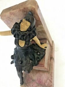 Antique Art Deco Pierrot Harlequin Lady Figure Bronze or Spelter Marble Bookend
