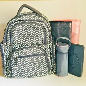 Carters On the Move Backpack Diaper Bag RN 90347 CA27939 Grey White EXTRAS
