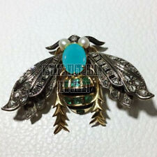 Silver Vintage Bee Brooch Pin Jewelry 2.60Cts Rose Cut Diamond Gemstone Studded