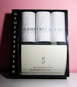 Geoffrey Beene Handkerchiefs Monogram Gift Set 100% Cotton w/6 Cards & Envelopes