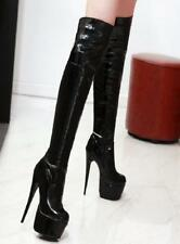 Sexy Womens Stilettos High Heels Platform Shoes Nightclub Party Knee High Boots